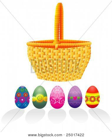 Easter basket and eggs - vector!