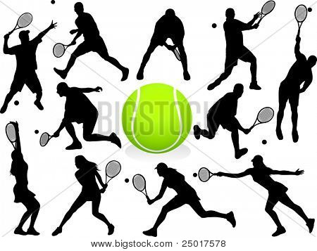 Tennis Players Silhouettes - vector.
