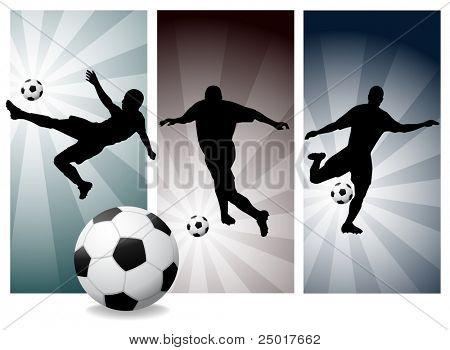 Vector voetballers. Kleuren gemakkelijk wijzigen. (Bekijk mijn portfolio voor andere silhouetten)