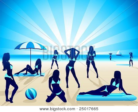 Sexy Women on the beach - Vector
