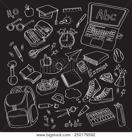 School Clipart Vector Doodle School Icons Symbols Back To School Background Sketch Drawing Hand Blac