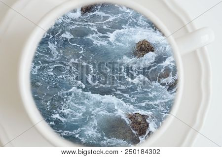Sea Or Ocean In A Coffee Cup, Creative Concept. Coffee Break, Top View