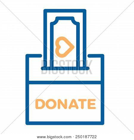 Donation Box With A Generous Offer. Cash Bill With An Heart, Kind Money. Vector Thin Line Icon Illus