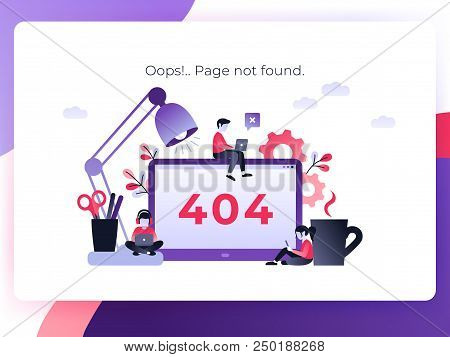 Flat Concept 404 Error Page Or File Not Found For Web Page, Banner, Presentation, Social Media, Docu
