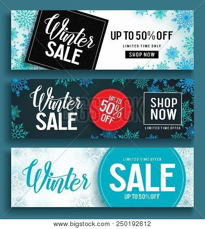 Winter Sale Vector Banner Set With Sale Text And Snow Background Template In Different Colors For Wi