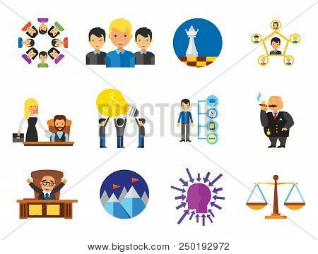Business Icon Set. Team Structure Common Idea Director Executive Manager Rich Person Team Time Manag
