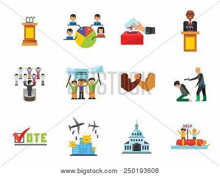 Vote Icon Set. Debates Politician Politics Leadership Vote White House Demonstration Election Electo