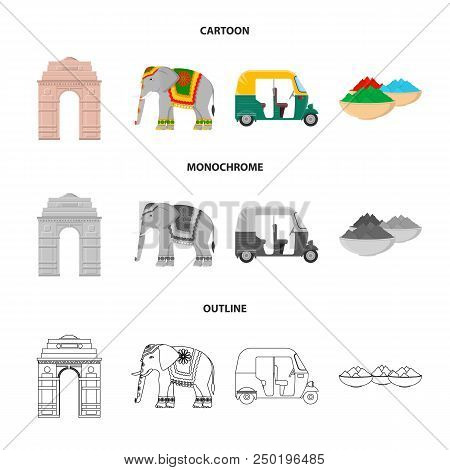 Country India Cartoon, Outline, Monochrome Icons In Set Collection For Design.india And Landmark Vec