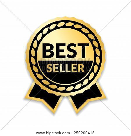 Ribbon Award Best Seller. Gold Ribbon Award Icon Isolated White Background. Bestseller Golden Tag Sa