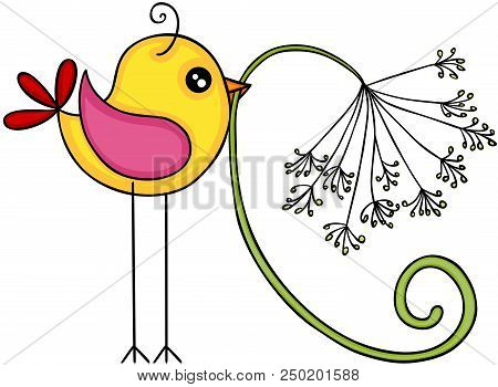 Scalable Vectorial Representing A Yellow Bird With Dandelion Flower, Element For Design, Illustratio