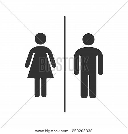 Public Toilet Information Sign Glyph Icon. Restroom. Male And Female Wc. Silhouette Symbol. Negative