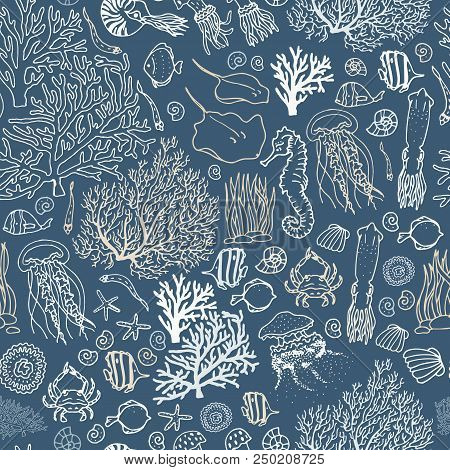 Seamless Sea-ocean Pattern With Fishes, Corals, Squids, Seashells Etc. Hand Drawn Background. Stock