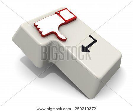 Negative Feedback. Enter Key With Thumb Down Sign. White Keypad Button (enter) With Thumb Down Sign