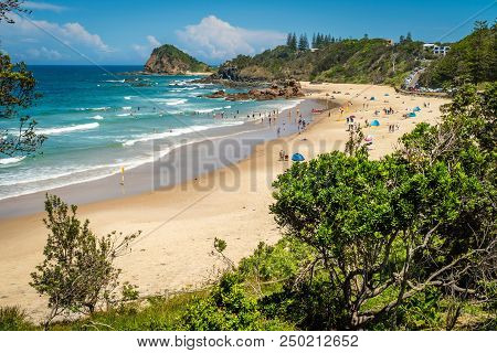 People At The Beach In Flynns Beach In Port Macquarie, Australia
