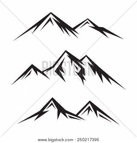 Set Of Abstract Vector Nature Or Outdoor Mountain Silhouette. Mountains And Travel Icons For Tourism