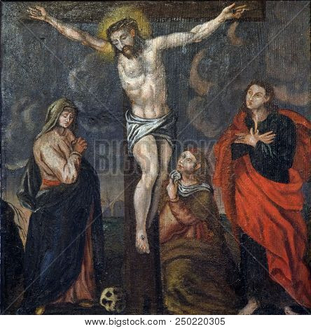VELIKA MLAKA, CROATIA - MARCH 28: Crucifixion Jesus dies on the cross, altarpiece in the Church of the Saint Barbara in Velika Mlaka, Croatia on March 28, 2017.