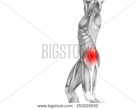Conceptual hip human anatomy with red hot spot inflammation articular joint pain for leg health care therapy or sport muscle concepts. 3D illustration man arthritis or bone sore osteoporosis disease