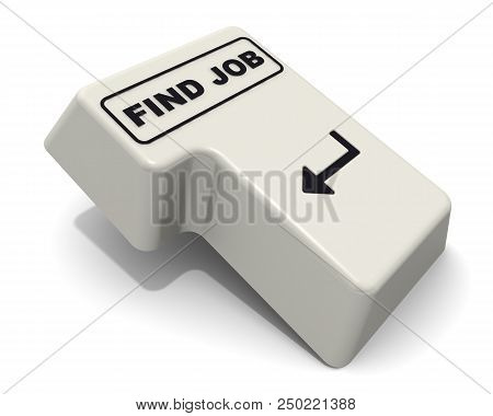 Enter Key With Find Job Inscription. Computer Enter Key With Find Job Inscription Isolated On White
