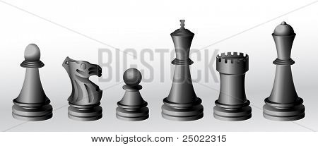 chess pieces - black