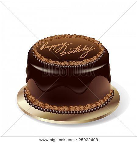 Birthday party chocolate cake - vector
