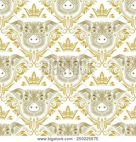 Vintage Seamless Pattern Of Repeating Pig Muzzle In Floral Ornament With Crown. Gift Wrapping For Ch