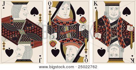jack, king,queen of spades- vector