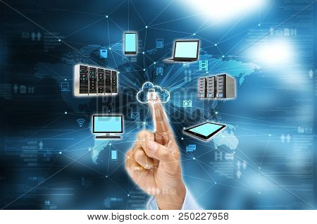 Businessman Hand Selecting A Secured Nternet Cloud Technology Services.