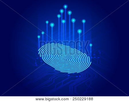 Isometric Digital Modern Identify And Measuring The Bright Fingerprint On The Digital Surface. Futur