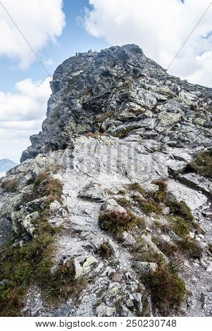 Summit Of Ostry Rohac Peak In Rohace Mountain Group In Western Tatras Mountains In Slovakia