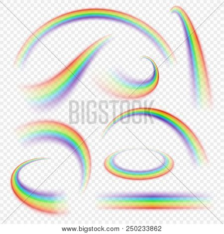 Realistic Rainbow Curve. Arch Of Different Bright Colours In The Sky, Curved Shape. Vector Illustrat