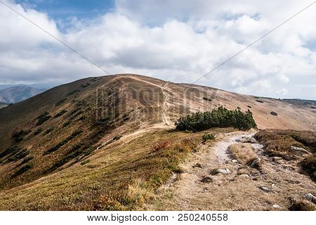Kosarisko Hill In Western Part Of Nizke Tatry Mountains In Slovakia With Mountain Meadow, Hiking Tra