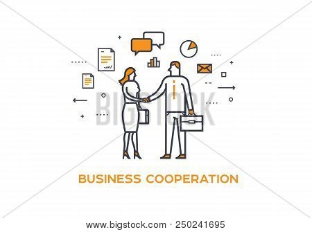 Businessmen Shaking Hands. Cooperation Interaction. Illustration Eps 10 File. Success Cooperation An