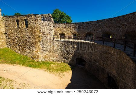 Stara Lubovna, Slovakia - Aug 28, 2016: Courtyard Of Stara Lubovna Castle. Popular Tourist Destinati