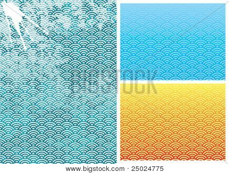 Traditional Wave pattern, vector illustration layered file.