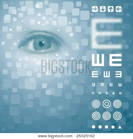 Eye background with vision test chart. Vector layered.