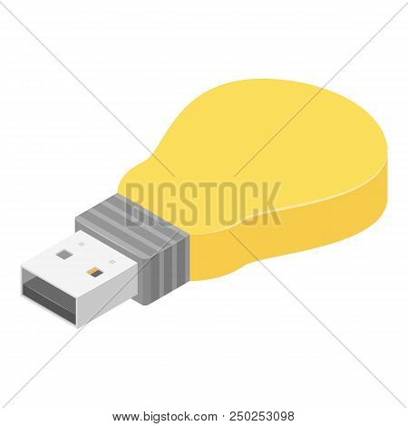 Bulb usb flash icon. Isometric of bulb usb flash vector icon for web design isolated on white background poster