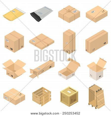 Parcel Packaging Delivery Box Poste Icons Set. Isometric Illustration Of 16 Parcel Packaging Deliver