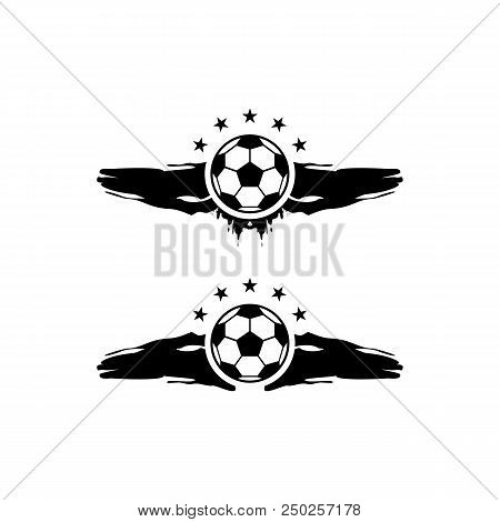 Soccer And Football Balls For Labels And Emblems. Vector Elements Set. Football Emblem, Label Ball S