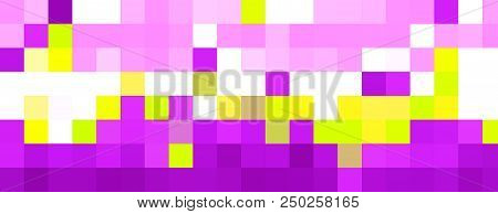 Colorful Squared Mosaic Banner In Wide Background. Beautiful Lilac Yellow White Mosaic Squares Wallp
