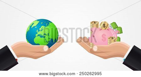 Global Economy. Business Concept With Money. Vector Illustration