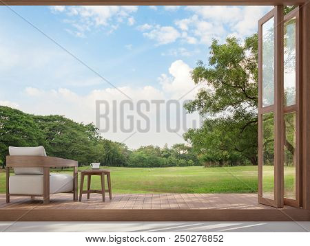 Wood Terrace With Garden View 3d Render,there Are Large Open Doors. Overlooks To Wooden Terrace And