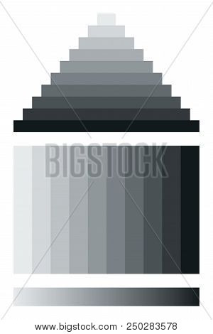 Mach Bands, Optical Illusion. Exaggerates Contrast Between Edges Of Differing Shades Of Gray, As The