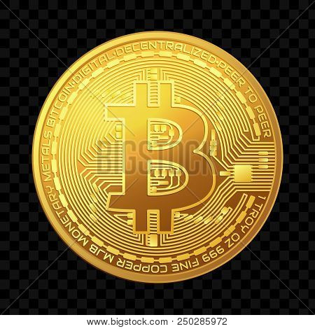 Crypto Currency. Face Of The Crypto Currency Golden Bitcoin Isolated On Dark Background.