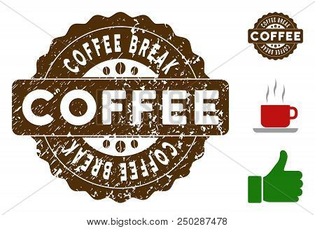 Coffee Break quality medallion stamp. Vector seal with grunge surface and coffee color for rubber stamps imitations. Brown rubber seal stamp with grunge design of Coffee Break label. poster