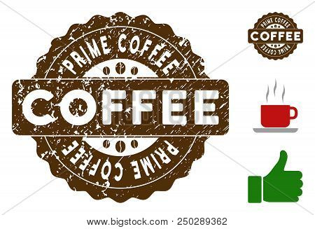 Prime Coffee Award Medallion Stamp. Vector Seal With Grunge Texture And Coffee Color For Rubber Stam