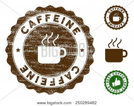 Caffeine medallion stamp. Vector seal imprint imitation with grunge texture and coffee color. Brown rubber seal stamp with grunge design of Caffeine caption. poster