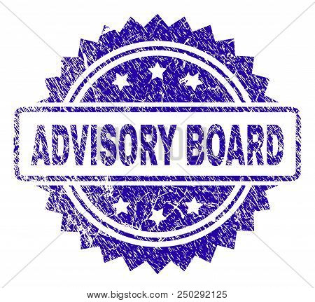 Advisory Board Stamp Watermark With Grunge Style. Blue Vector Rubber Seal Print Of Advisory Board Ta