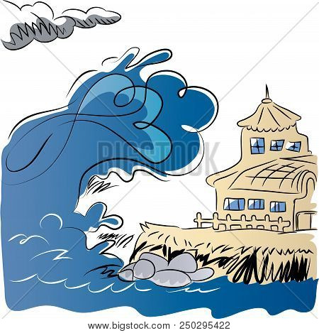 Earthquake Generating Tsunami.  Tsunami Coming To Manor From The Ocean. Illustration Of Natural Disa
