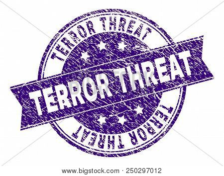 Terror Threat Stamp Seal Imprint With Distress Texture. Designed With Ribbon And Circles. Violet Vec