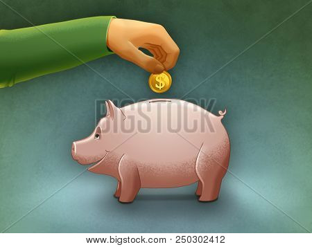 Putting a coin into a piggy bank. Digital illustration.